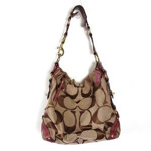 COACH Brown Signature C Shoulder Bag Handbag GUC